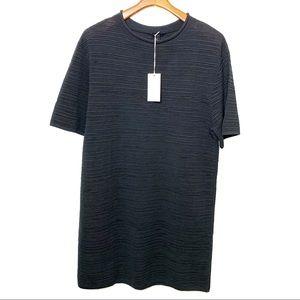 COS Black Ribbed Pull-On Short Sleeve Shirt Dress